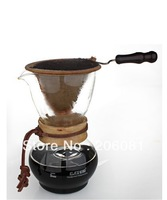 Wood Collar Glass Coffee Maker/drip pot woodneck professional-quality pot makes it easy to brew perfect coffee with cloth filter