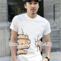 2013 new big Hand t shirt!Man men clothes Printing Hot 3D visual creative personality spoof grab your cotton T-shirt shirt