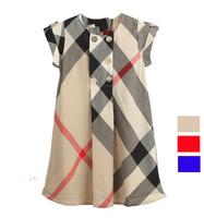 2-6yrs Girls dress Summer children dresses girl's grid fashion dress kids wear fashion High quality 100%cotton L023