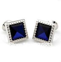 MOQ 50 pairs Blue Crystal inlaid Shirt cuff Cufflinks cuff links free shipping for men's gift cufflinks supply
