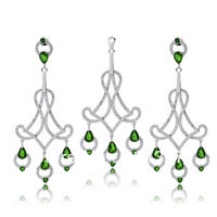 Free Shipping 925 Sterling Silver Jewelry Set ,New 2014 Cubic Zirconia Pendant&Earring Jewelry Sets TZ0089