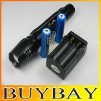 Free shipping Super Bright Cree T6 LED Flashlight torch E3+1 charger+2 batteries 1600 Lumens Zoomable Torch flash light
