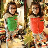 New arrival children's clothing autumn and winter female child 100% cotton small vest plus velvet thickening outerwear wadded