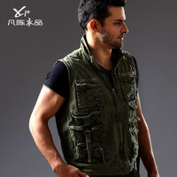 men thin autumn tooling outdoor vest Military uniform multi-pockets waistcoat cotton-padded army green vest H1878