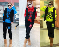 Free Shipping New 2013 Women's Fashion Sweatshirt Sportswear Sport Suit Long SleeveTracksuit Letter Print Sweatsuit Hoodies 3PCS
