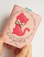 Free shipping!Sweet gentlewomen cartoon cat coin purse short design small wallets women