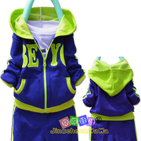 Spring new arrival children's clothing male female child cardigan sports casual set children top twinset trousers