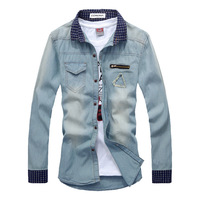 free shipping Denim shirt benoni male autumn male cotton shirt coat male slim denim shirt long-sleeve