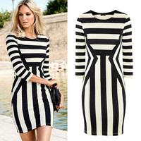 Fashion New Women Celeb Monochrome Black White Striped Celebrity 3/4 Sleeve Optical Illusion Party Bodycon Mini Dress S/M/L/XL