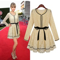 free shipping new 2014 winter dress printed long-sleeve slim laciness lace elegant fashion gentle women casual dress