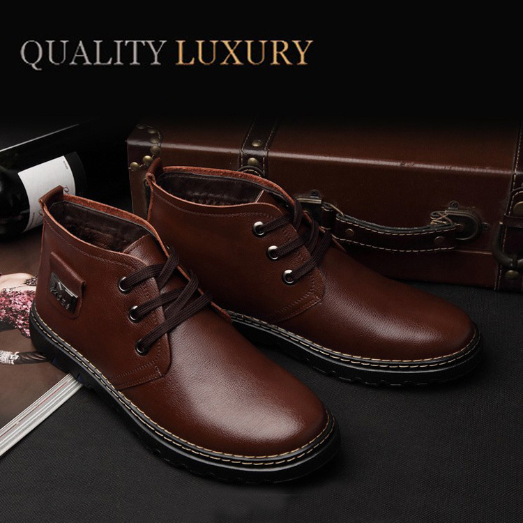 Free Shipping+Hot Selling Super Warm Men's Winter Boots100% Geniune Leather Boots Men Outdoor Waterproof Rubber Snow boots 38-44(China (Mainland))