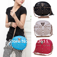 Fashion Lady Girls Punk Leopard Head Rivet PU Leather  Shoulder Bag Handbag