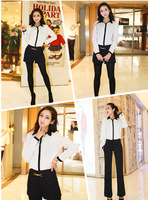 New Promotions! 2013 Hot Fashion Trendy Women Blouse Shirt Long Sleeve Career OL Classic Black and White Department Button Shirt