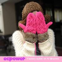 1 Pcs Top Fashion Women Winter Warm Rabbit Fur Gloves Women Knitted Full Finger Gloves Free Shipping