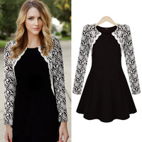 Lace Embroidered Dress Long Sleeve O-Neck Slim Waist Pullover Dress Elegant Vestidos 1116