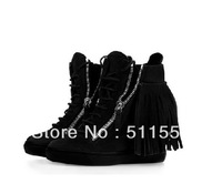 Fashion New Giuseppe Shoes Black Suede Leather Tassel GZ  Wedge Shoes Sneakers Elevator Comfortable Casual Shoes 8CM