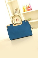 Free Shipping 2013 New Style Shoulder Bags Genuine Leather Red Blue Leather Handbag With Fashion Design