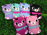 New Arrival Cartoon Cover case for iphone4/4s lovely cool cat phone cases for iphone5/5s silicone back case