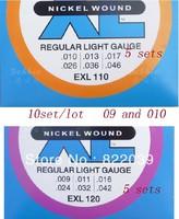 10sets/lo tElectric  Guitar Strings 5sets110 E X L(010--046) and 5sets 120E X L (009-042)Guitar Strings ,freeship
