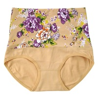 Hot Fashion Flowers Decorate Full Cotton Women Underwear High Waist Briefs Panties 5 Pcs/Lot