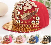 Brand Letter baseball cap new 2014 baseball caps Punk cap Personality Men/ Women Rivet Cap Hat Punk style