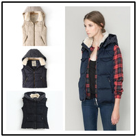 Free Shipping Fashion winter knitted fashion all-match patchwork with a hood vest cotton vest female two colors SML