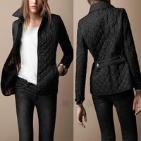 Top perfect design british style women's plaid quilting wadded jacket outerwear jacket