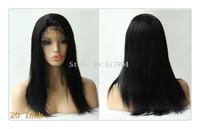"120% Density! Brazilian Human Hair Glueless Front  Lace Wigs #1 Jet Black 10""12""14""16""20""YAKI Straight Brown Lace C06"