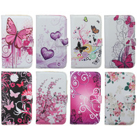 PU Leather Stand Wallet , Card Slot Bag Plum Flower Heart Hard Cover Flip Case For Samsung I9500 Galaxy SIV S4 Eiffel Tower