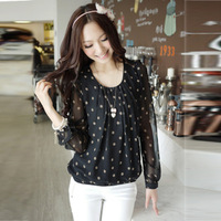 female long-sleeve t-shirt basic shirt plus size polka dot chiffon shirt lace shirt female top