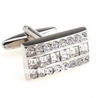 MOQ 50 Pairs Free shipping crystal White Set auger shirt cufflinks, men's cuff links.