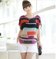 2014 women blouse shirt Multi-colour print Stripe Loose Short Sleeve Chiffon Shirt Brand casual plus size summer blouse