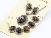3pcs Vintage Antique Silver Plated Oval Tigerite Carving Pattern Earrings Bracelet Necklace Women Jewelry Set JS111