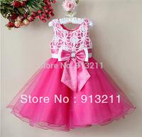 Retails -New arrivals 2013 Girl Party Dress Hot Pink Floral Children Wedding Dress Baby Wear,