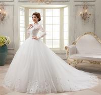 2013 autumn and winter long-sleeve royal vintage lace slim princess bride short trailing
