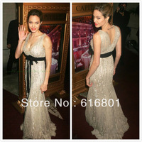 Angelina Jolie 2013 New Arrival Beading V-neck Sexy Red Carpet Party Celebrity Dresses