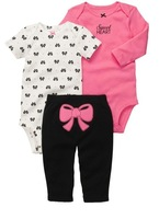 5pcs/lot 100% cotton baby girl's longsleeve suit 2014 autumn Carter's 3-piece bodysuit pant set bowknot baby clothes kids wear
