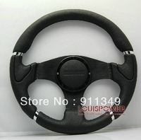 MOMO 14 inches Leather Steering Wheel, Drifting steering wheel for Modified Car-13056all black