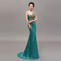 2013 Elegant Sequins the bride married long design Evening Dress one shoulder train Fishtail Dress