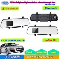 2.7 Inch TFT LCD X11B Rear View Mirror HD 1080P DVR+Bluetooth +Double F8 Super Night Vision+G-sensor+Free Shipping