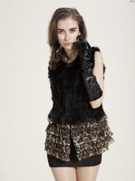 Женская одежда из меха 2013Korean autumn winter luxury fashion medium-long faux fur waistcoat imitation fox fur vest sleeve jacket women S/M/L/XL D2157