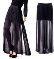 Vintage Ladies Pleated Sheer High Side Split Chiffon Maxi See Through Long Skirt