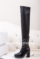 hot sale 2013 winter luxury brand boots black/White thigh high boots cutout leather gladiator chain boot