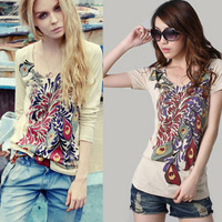 2013 autumn fashion slim doodle Women women's t shirt long-sleeve shirt women's basic t-shirt female