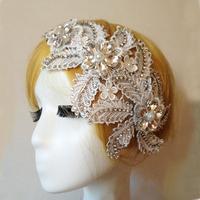 Ivory Lace Flower Rhinestone Headband Hair band Fascinator Wedding Headpiece Free Ship