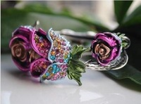 HOT!2013NEW  FASHION  CHARMING ARCHAIZE RHINESTONE ROSE FLOWER CUFF EXQUISITE BRACELET BANGLE!