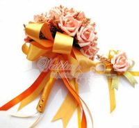 Hot sell bride flowers bouquet,High simulation silk flower Rose and Lilies,decorative flowers with pearl handle