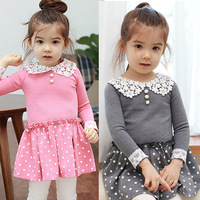 Free Shipping-2014 new!!Cute Girls  Wave Point Dress 100%Cotton High Quality.2Colors 5Szie