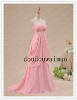 evening dress 2013 new arrival Fairy Fancy Real Sample Chiffon Pink Long Prom Dresses vestidos de fiesta
