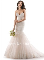 Free Shipping!!! New Designed OEM Free-Shipping Embroidered Keyhole Back Lace Tulle Mermaid Wedding Dresses 2014